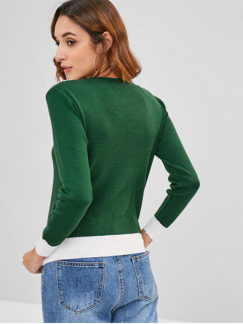women's Color Block Pullover Crew Neck Sweater - MEDIUM FOREST GREEN ONE SIZE Mobile