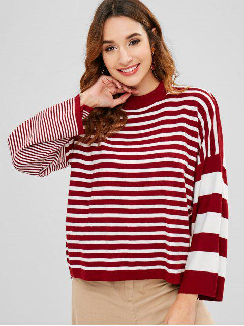 outfit Crew Neck Loose Stripes Sweater - MULTI ONE SIZE Mobile
