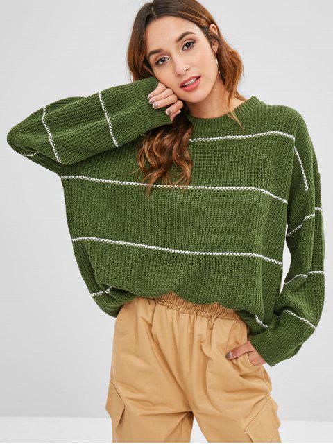 Suéter túnica suelta a rayas - Ejercito Verde Talla única Mobile