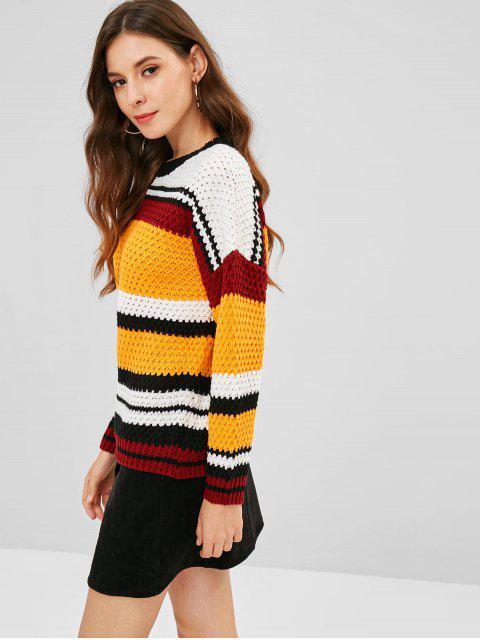 shops Multicolored Striped Drop Shoulder Sweater - MULTI ONE SIZE Mobile