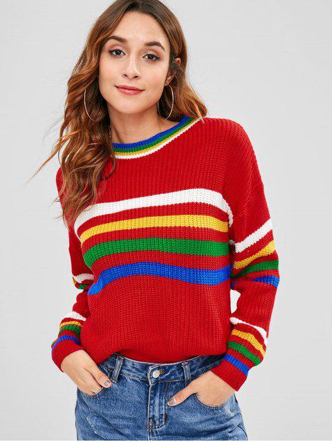 Suéter con paneles de rayas en los hombros caídos - Rojo Lava Talla única Mobile