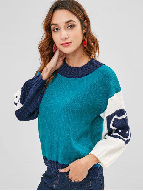 Suéter gráfico de color block jersey - Multicolor Única Talla Mobile