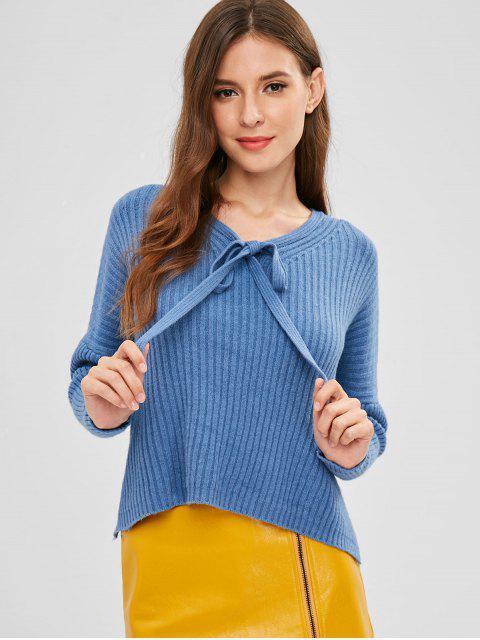 Suéter con lazo alto bajo - Azul de Seda Talla única Mobile