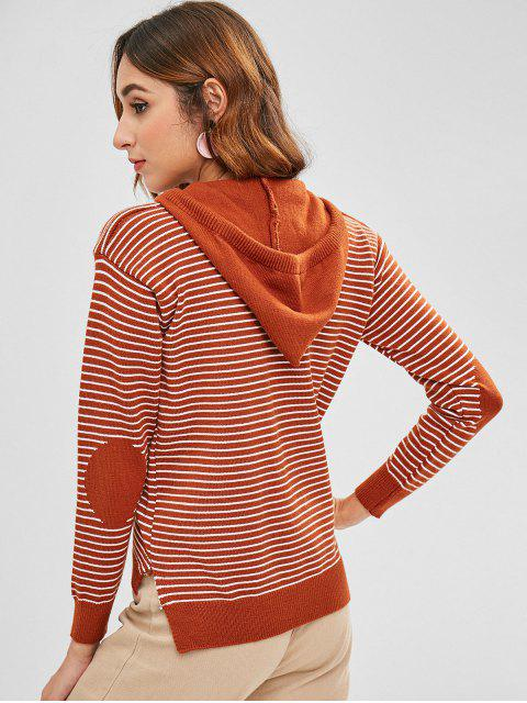 new Striped Zipper Hooded Cardigan - LIGHT BROWN ONE SIZE Mobile