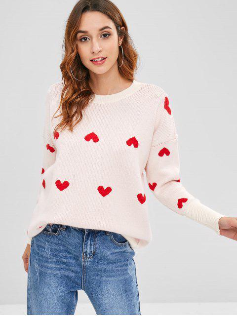Corazones gráfico túnica suelta suéter - Albaricoque Talla única Mobile