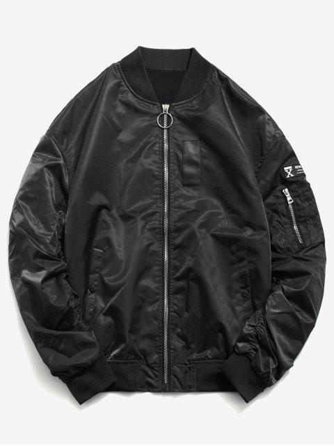 Chaqueta de manga corta con capucha estilo patchwork - Negro L Mobile