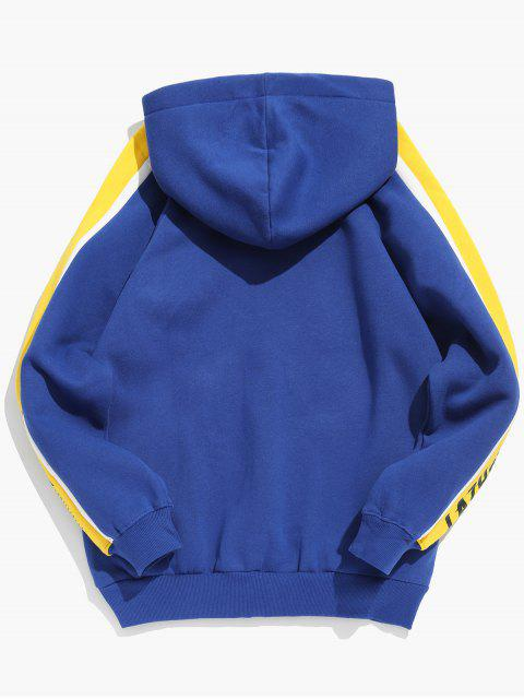 new Side Stripes Letter Print Fleece Hoodie - BLUEBERRY BLUE M Mobile
