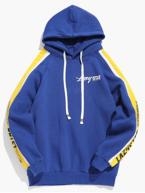 Sudadera con capucha de rayas con estampado de letras a rayas laterales - Azul de Arándanos M Mobile