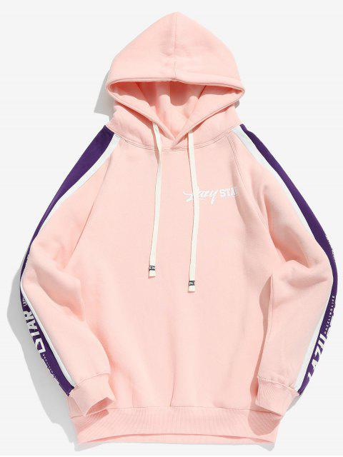 Sudadera con capucha de rayas con estampado de letras a rayas laterales - Rosa Luz XL Mobile