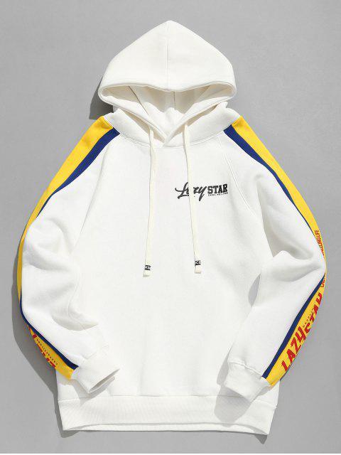 Sudadera con capucha de rayas con estampado de letras a rayas laterales - Blanco XL Mobile