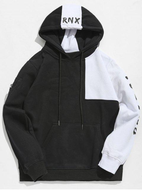Sudadera con capucha de lienzo con patchwork en contraste de Hiphop - Negro 2XL Mobile