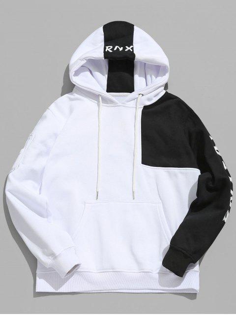 Sudadera con capucha de lienzo con patchwork en contraste de Hiphop - Blanco 2XL Mobile