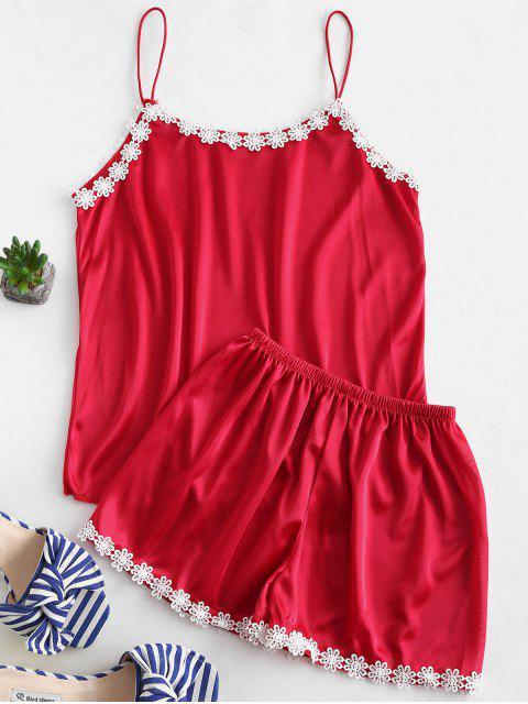 Camisola y pantalones cortos de satén de ganchillo con flores - Rojo XL Mobile