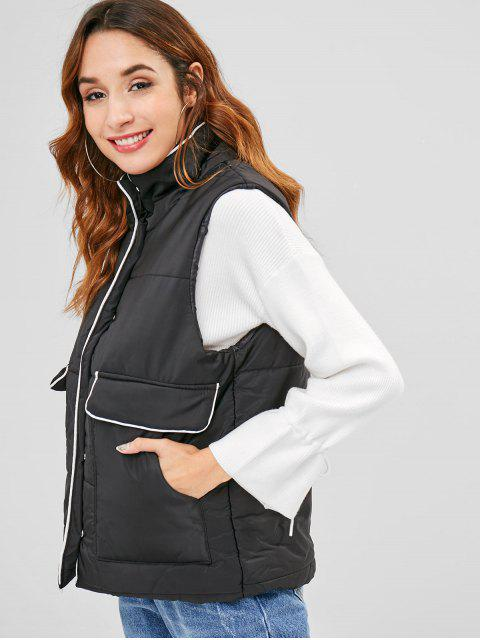 online Puffer Padded Waistcoat with Pocket - BLACK ONE SIZE Mobile
