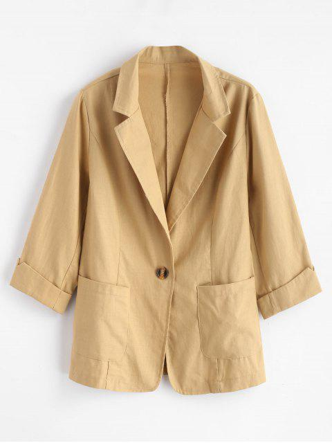 new Lapel Pocket One Button Blazer - GOLDENROD M Mobile