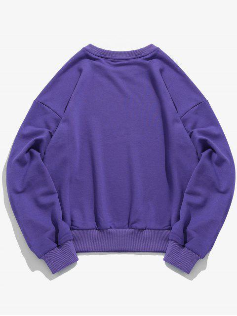 ladies Bottle Pattern Drop Shoulder Sweatshirt - PURPLE M Mobile