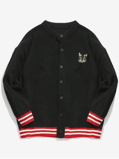 Patrón de gatito bordado cardigan a rayas - Negro L Mobile