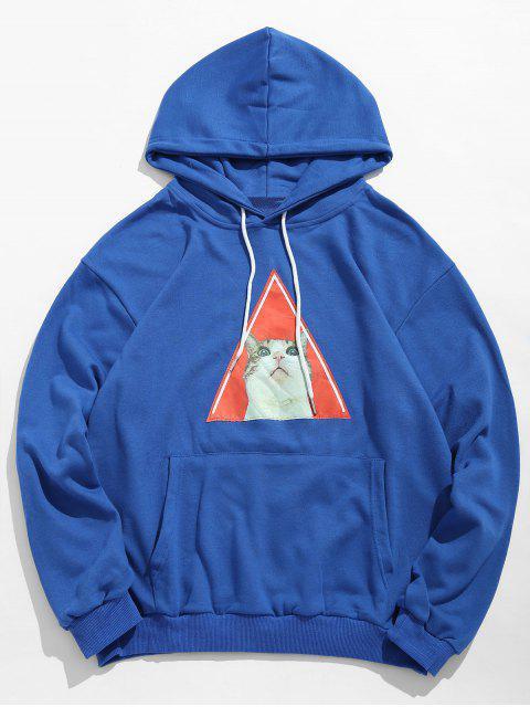 Sudadera con capucha del lazo del patrón del gatito - Azul Océano  L Mobile