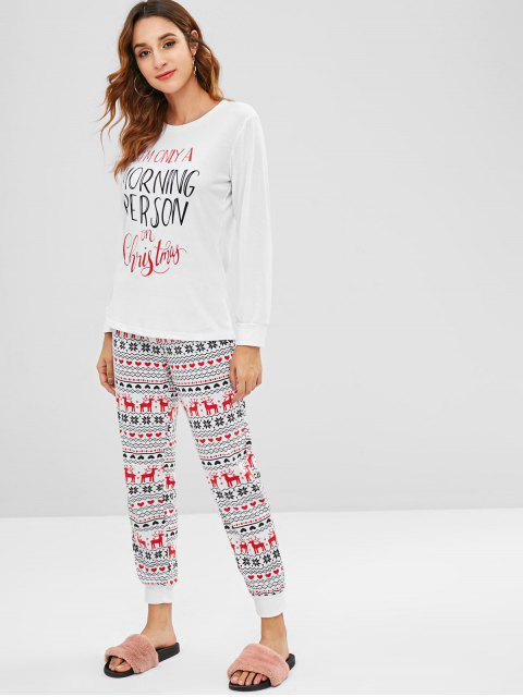fancy Letter Graphic Christmas Two Piece Set - WHITE L Mobile