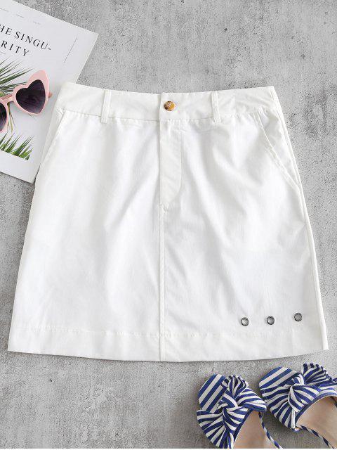 ZAFUL Minifalda con ojales en color liso - Blanco S Mobile