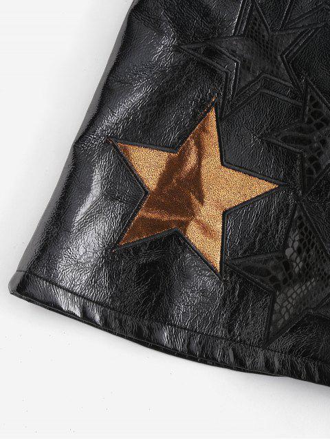 lady ZAFUL Star Pattern Mini Faux Leather Skirt - BLACK XL Mobile