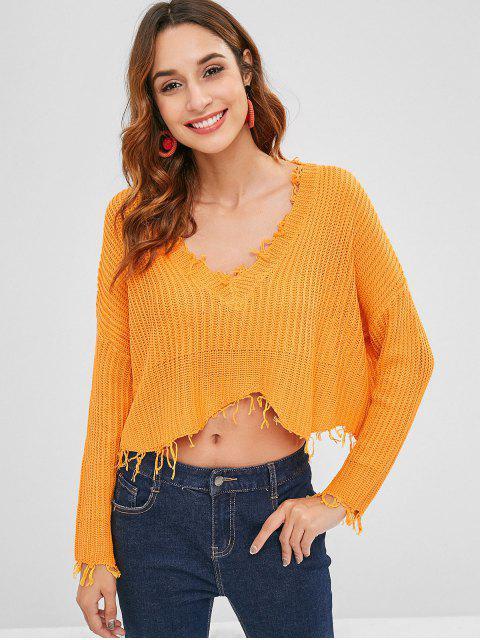 Suéter de corte bajo con flecos de gran tamaño - Oro Anaranjado M Mobile