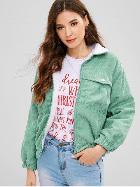 ladies Drop Shoulder Fleece Lining Corduroy Jacket - GREEN L Mobile