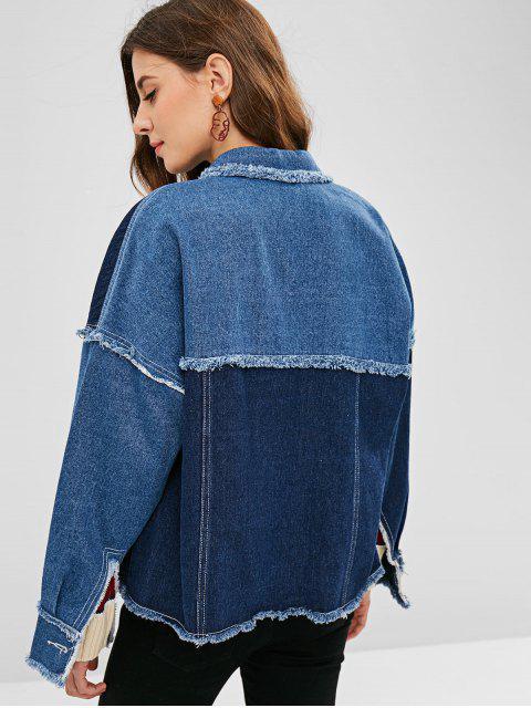 ZAFUL Veste à Brodure Effrangée avec Poche en Denim - Bleu Foncé Toile de Jean XL Mobile