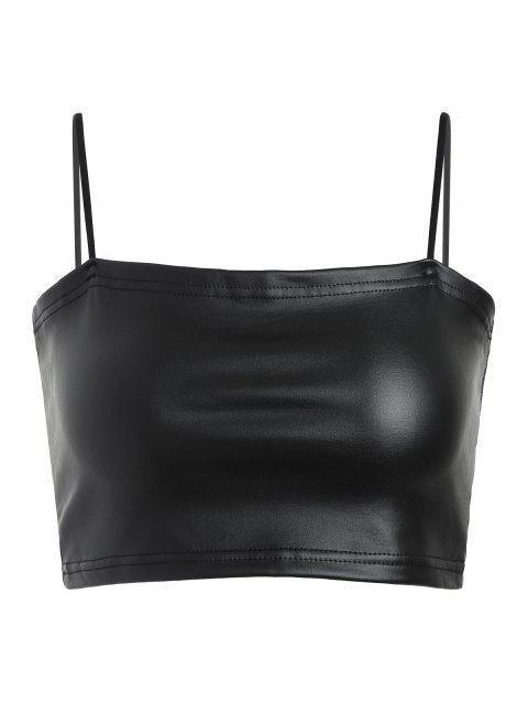 shops Faux Leather Cami Crop Top - BLACK L Mobile