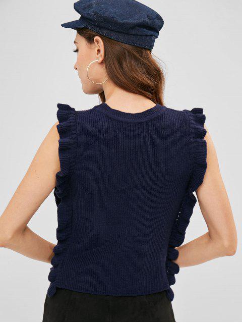 shop ZAFUL Ruffles Vest Sweater - MIDNIGHT BLUE ONE SIZE Mobile