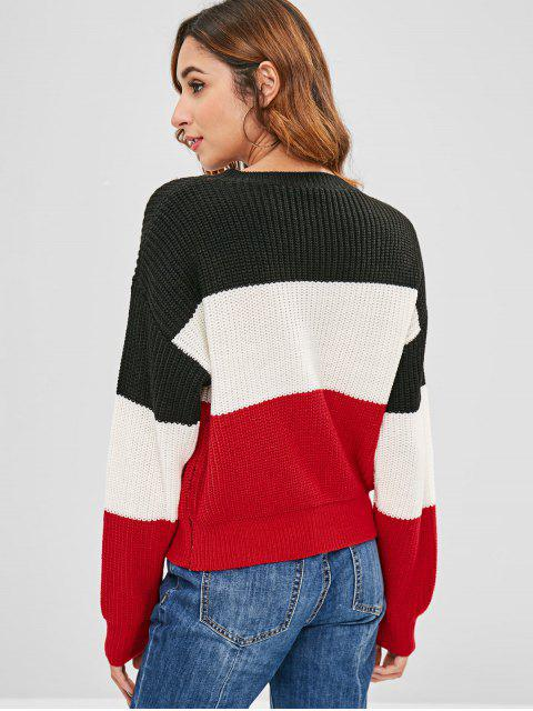 ladies ZAFUL Color Block Striped Sweater - MULTI ONE SIZE Mobile