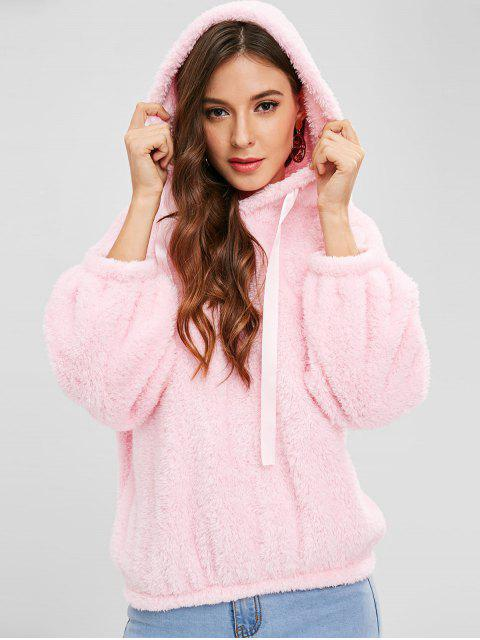 chic Drop Shoulders Faux Shearling Hoodie - PINK ONE SIZE Mobile