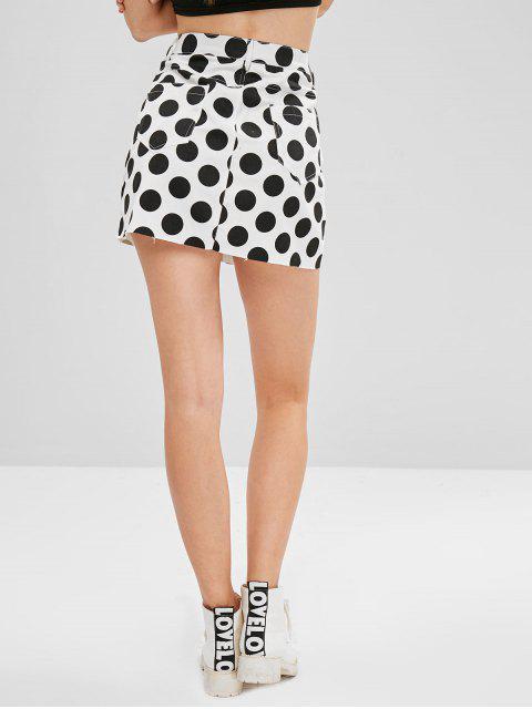 best ZAFUL Raw Hem Polka Dot Mini Skirt - WHITE M Mobile