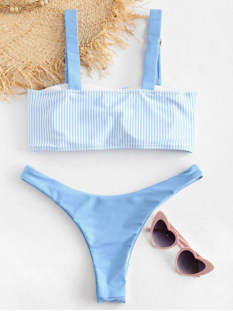 sale ZAFUL Striped Buckle High Leg Bikini Set - LIGHT SKY BLUE L Mobile