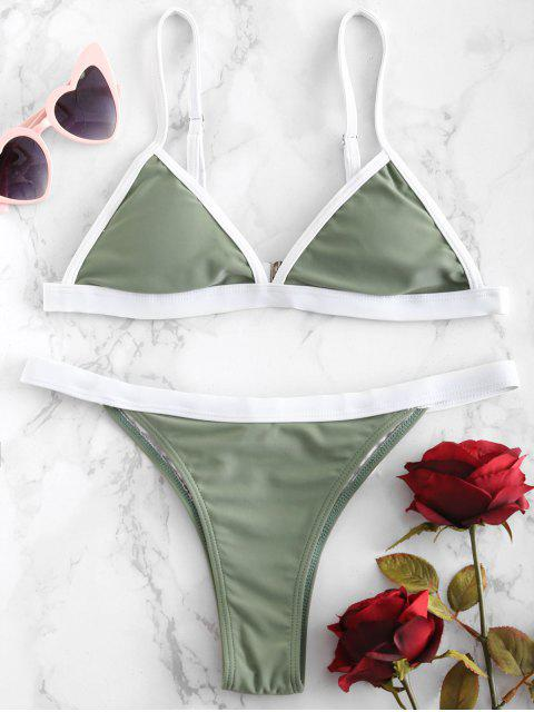 lady ZAFUL Contrast Piping Cami Bikini Set - FERN GREEN S Mobile