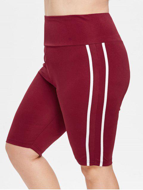 Pantalones cortos deportivos de rayas de talla grande - Vino Tinto 1X Mobile