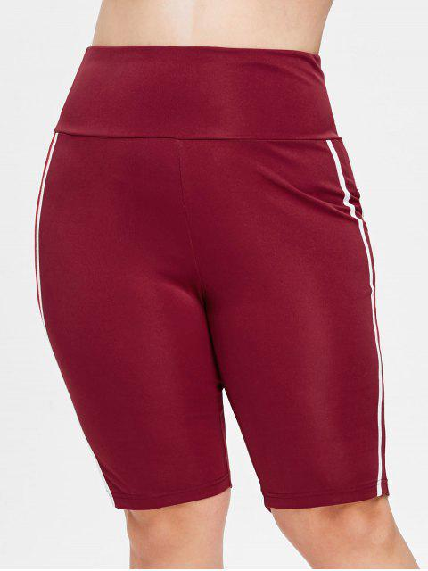 trendy Plus Size Striped Sports Shorts - RED WINE 4X Mobile