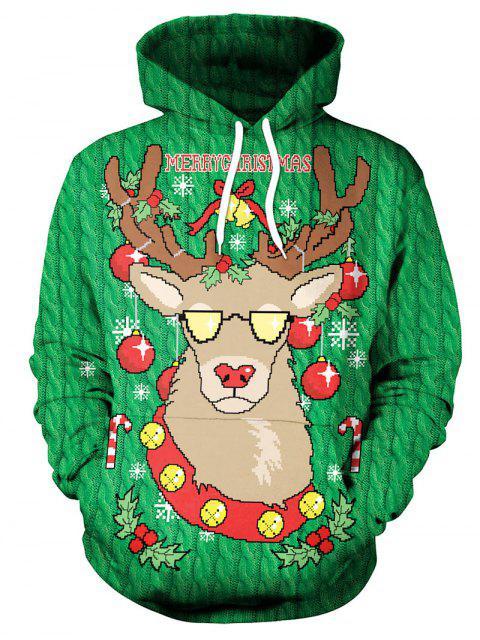 Sudadera con capucha con estampado de alces navideños - Verde M Mobile