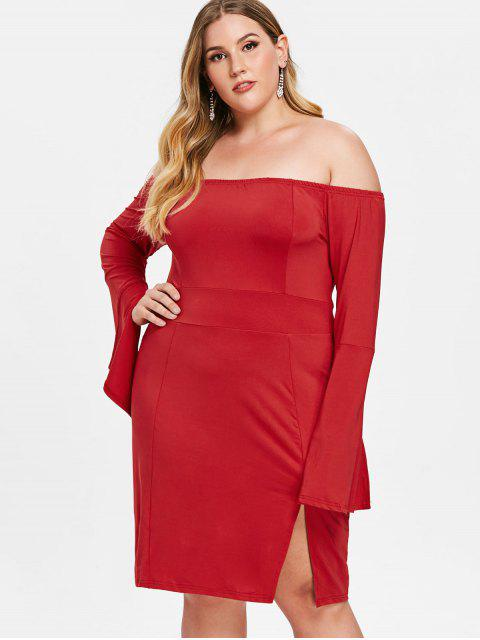 Plus Size Slit Flare Sleeve Fitted Dress - 紅 L Mobile
