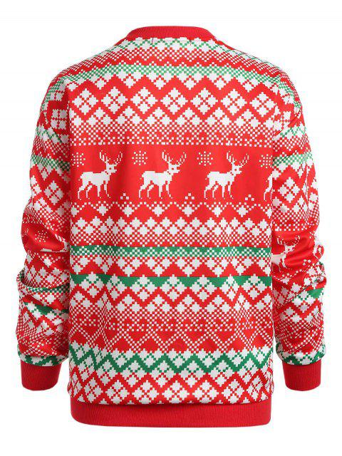 Christmas Geometric Plus Size Sweatshirt - 紅 L Mobile