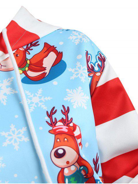 Christmas Snowflake Striped Plus Size Hoodie - 天藍天 L Mobile
