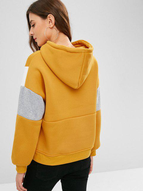 unique Fleece Lining Drop Shoulder Hoodie - GOLDEN BROWN M Mobile