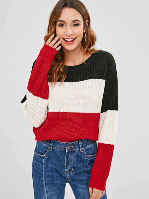 ZAFUL Farbblock Gestreifter Pullover - Multi Eine Größe Mobile