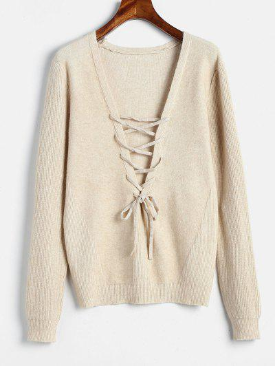Plunging Neck Lace Up Sweater - Cornsilk