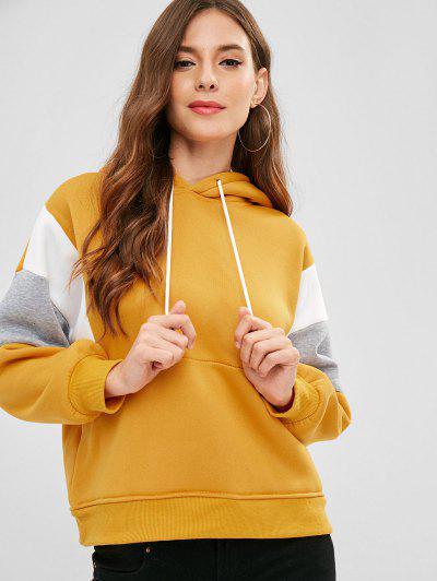 Fleece Lining Drop Shoulder Hoodie - Golden Brown M