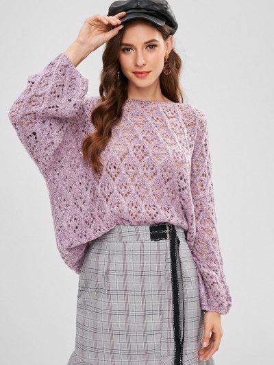 ZAFUL Loose Knit Cut Out Sweater - Wisteria Purple