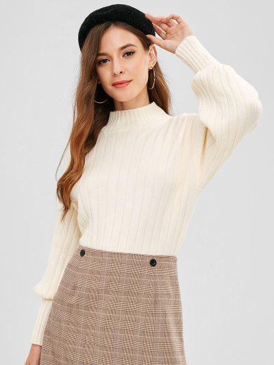 Mock Neck Drop Shoulder Loose Sweater - Beige