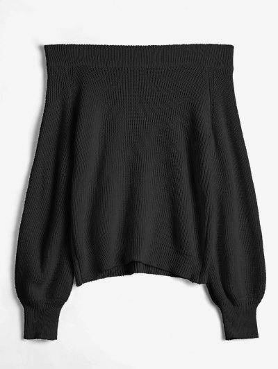 Off The Shoulder Lantern Sleeve Pullover Sweater - Black
