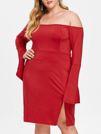 Plus Size Slit Flare Sleeve Fitted Dress - Red L