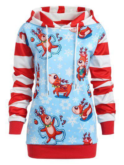 Casaco Encapuzado Plus Size Listrado Com Estampa De Floco De Neve De Natal - Dia Céu Azul L